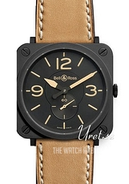 Bell & Ross Aviation Black/Leather 39x39 mm BR S Heritage
