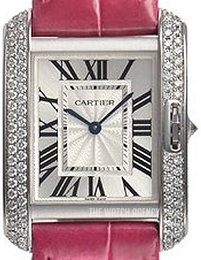 Cartier Tank Anglaise Silver colored/Leather WT100030