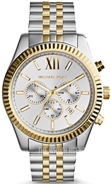 Michael Kors Lexington White/Yellow gold toned steel Ø45 mm MK8344