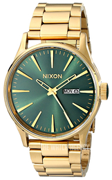 Nixon The Sentry Green/Yellow gold toned steel Ø42 mm A3561919-00
