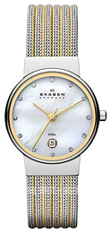 Skagen Ancher White/Yellow gold toned steel Ø26 mm 355SSGS