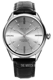 So & Co New York Madison Silver colored/Leather Ø39 mm 5023.2