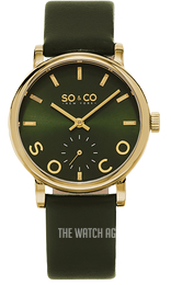 So & Co New York Madison Green/Leather Ø36 mm 5093L.4