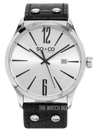So & Co New York Madison Silver colored/Leather Ø45 mm 5098.1