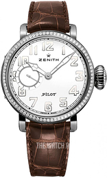 Zenith Pilot Silver colored/Leather Ø40 mm 16.1930.681-31.C725
