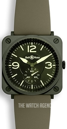 Bell & Ross BR S Quartz Green/Rubber Ø39 mm BRS-CERAM-MIL