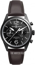 Bell & Ross BR 126 Black/Leather Ø41 mm BRV126-BL-CA-SCA