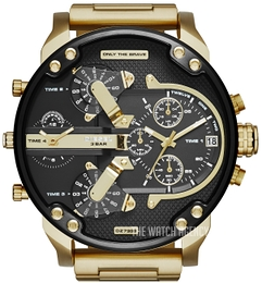 Diesel Chronograph Black/Yellow gold toned steel Ø57 mm DZ7333