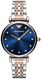 Emporio Armani Dress Blue/Rose gold colored steel Ø32 mm AR11092
