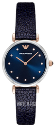 Emporio Armani Fashion Blue/Rose gold colored steel Ø32 mm AR1989