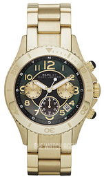 Marc by Marc Jacobs Rock Chrono Black/Yellow gold toned steel Ø40 mm MBM3253