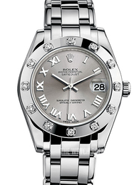 Rolex Pearlmaster 34 Silver colored/18 carat white gold Ø34 mm 81319-0019