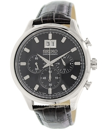 Seiko Chronograph Black/Leather Ø42 mm SPC083P2