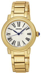 Seiko Dress Ladies White/Yellow gold toned steel Ø30 mm SRZ450P1