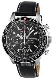 Seiko Chronograph Black/Leather Ø43 mm SSC009P3