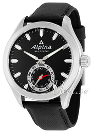 Alpina Horological Smartwatch Black/Leather Ø44 mm AL-285BS5AQ6