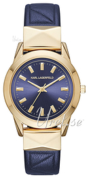 Karl Lagerfeld Labelle Stud Blue/Yellow gold toned steel Ø36 mm KL3812